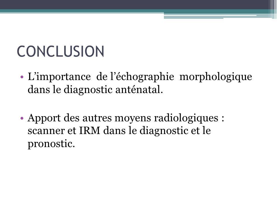 CONCLUSION Limportance de léchographie morphologique dans le diagnostic anténatal. Apport des autres moyens radiologiques : scanner et IRM dans le dia