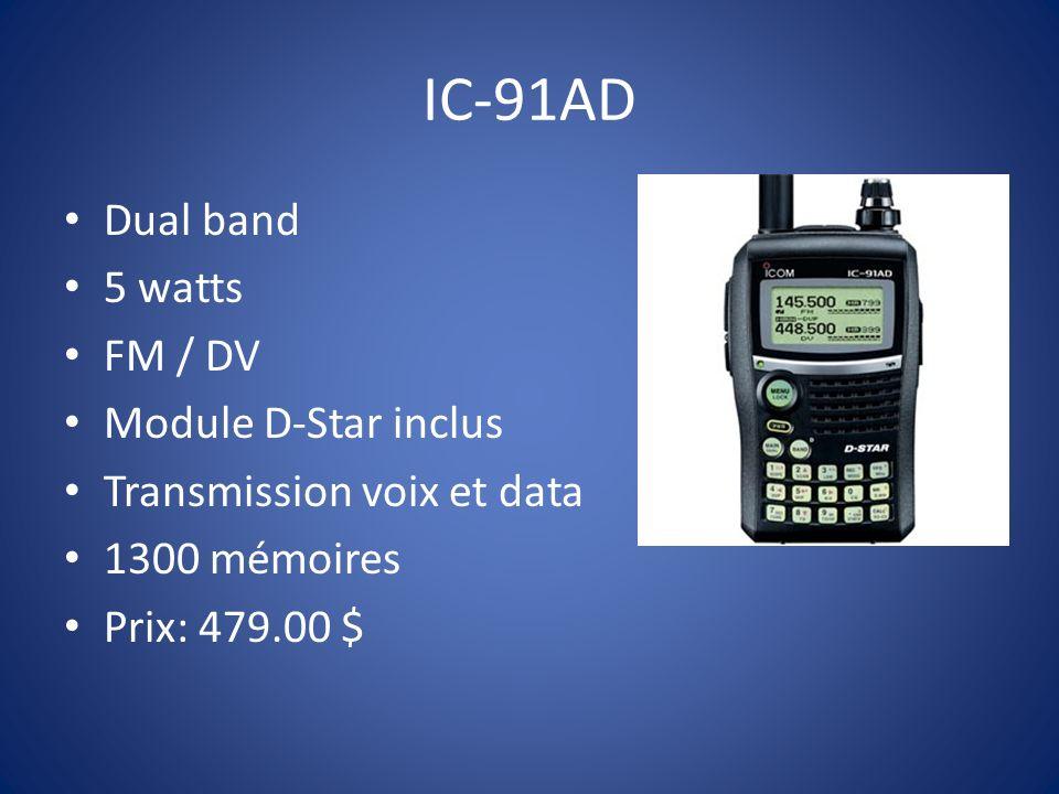 IC-92AD Dual band 5 watts FM / DV Module D-Star inclus Transmission voix et data Submersible Micro avec GPS intégré Prix: ???