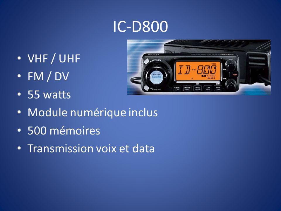 IC-2820 Dual band V/V, U/U, V/U 50 watts VHF/UHF Terminal packet 9600 bauds Transmission voix et data Positon par GPS, module UT-123 Enregistreur de voix 500 mémoires Prix: 679.00 $