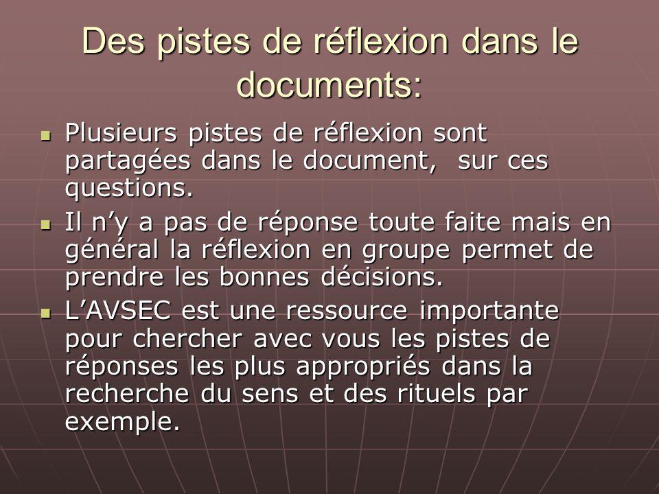 Des pistes de réflexion dans le documents: Plusieurs pistes de réflexion sont partagées dans le document, sur ces questions. Plusieurs pistes de réfle