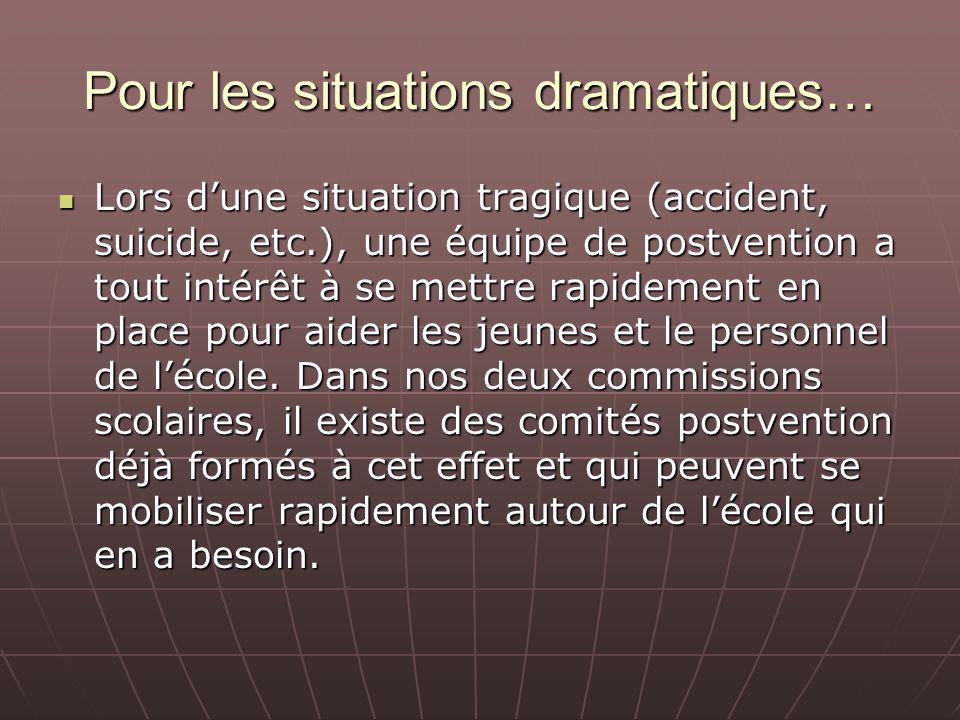 Pour les situations dramatiques… Lors dune situation tragique (accident, suicide, etc.), une équipe de postvention a tout intérêt à se mettre rapideme