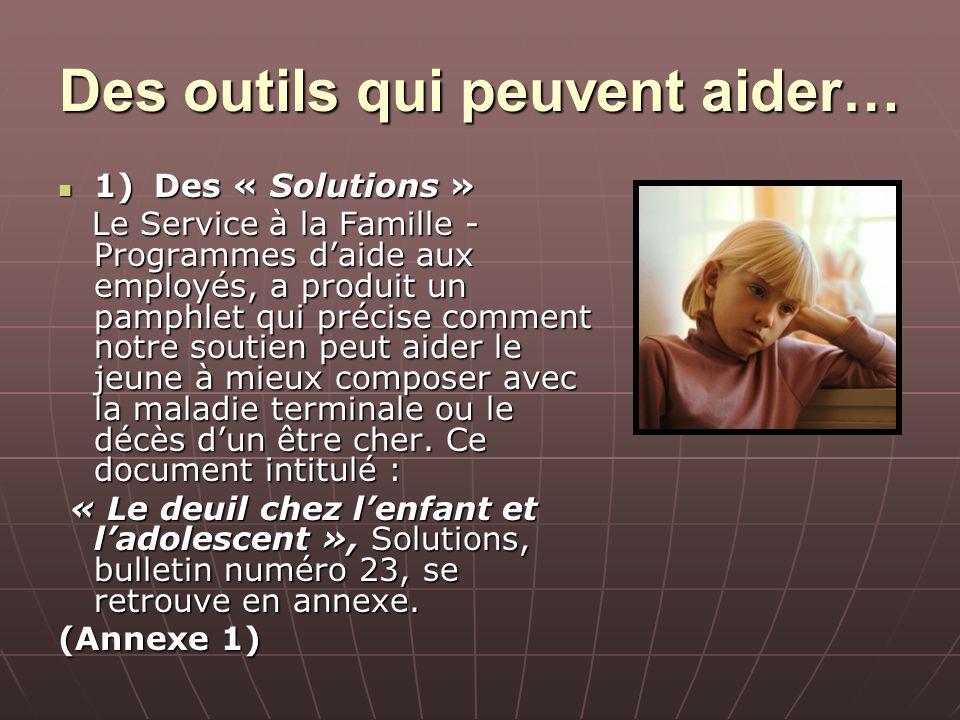 Des outils qui peuvent aider… 1)Des « Solutions » 1)Des « Solutions » Le Service à la Famille - Programmes daide aux employés, a produit un pamphlet q