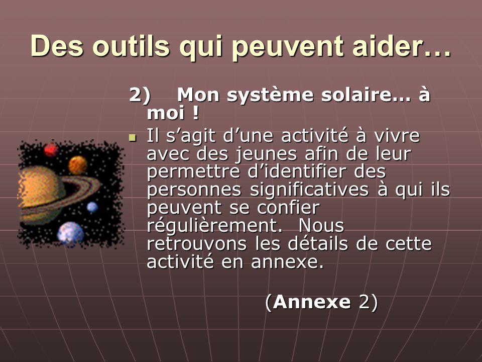 Des outils qui peuvent aider… 2)Mon système solaire… à moi ! Il sagit dune activité à vivre avec des jeunes afin de leur permettre didentifier des per