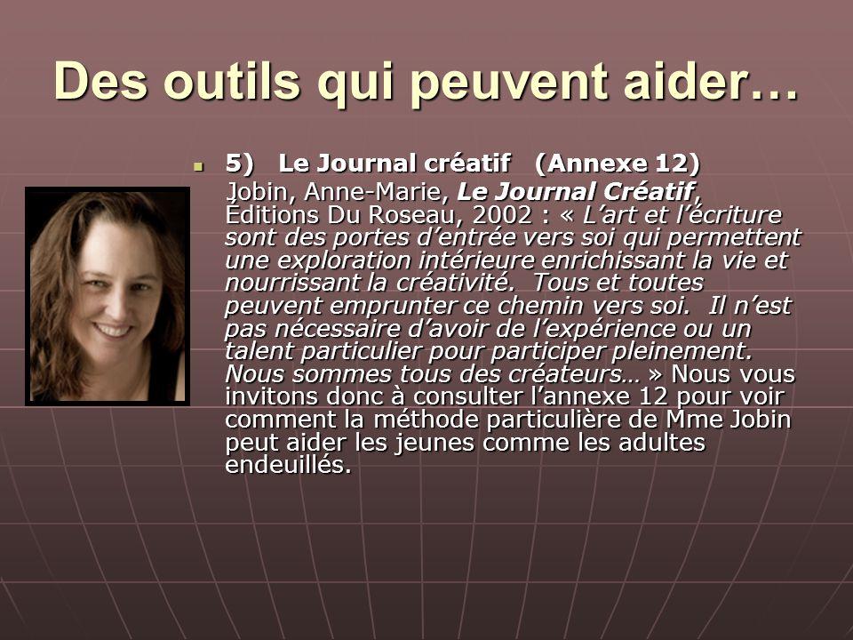 Des outils qui peuvent aider… 5)Le Journal créatif (Annexe 12) 5)Le Journal créatif (Annexe 12) Jobin, Anne-Marie, Le Journal Créatif, Éditions Du Ros