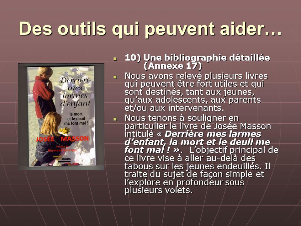 Des outils qui peuvent aider… 10)Une bibliographie détaillée (Annexe 17) 10)Une bibliographie détaillée (Annexe 17) Nous avons relevé plusieurs livres