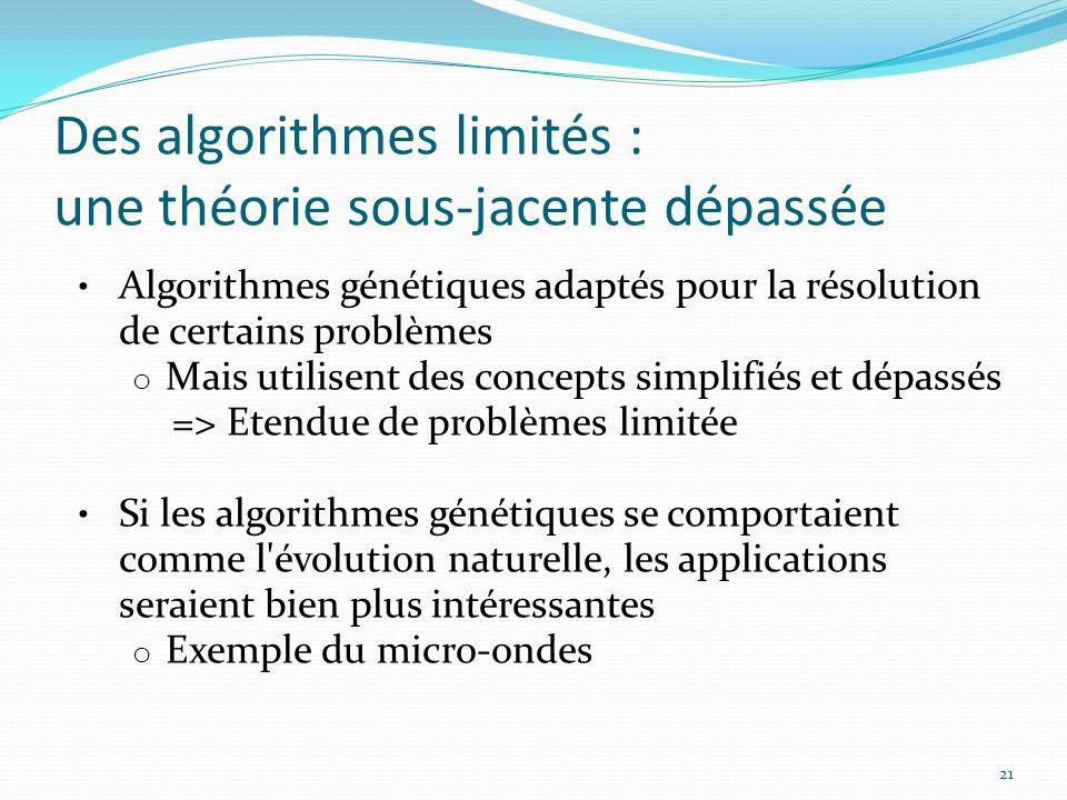 Des algorithmes limités : une théorie sous-jacente dépassée 21 Algorithmes génétiques adaptés pour la résolution de certains problèmes o Mais utilisen