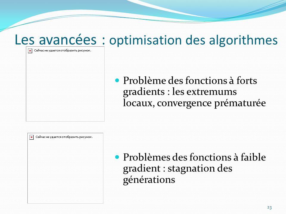 Les avancées : optimisation des algorithmes 23 Problème des fonctions à forts gradients : les extremums locaux, convergence prématurée Problèmes des f