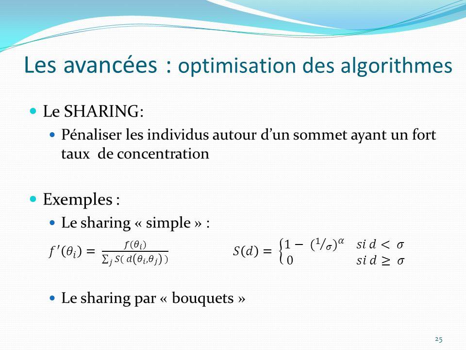 Les avancées : optimisation des algorithmes 25