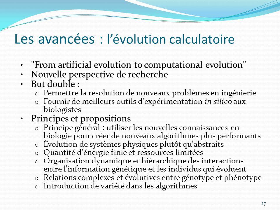Les avancées : lévolution calculatoire 27