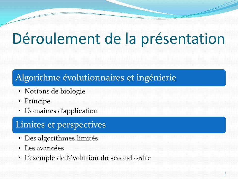 Déroulement de la présentation Algorithme évolutionnaires et ingénierie Notions de biologie Principe Domaines dapplication Limites et perspectives Des