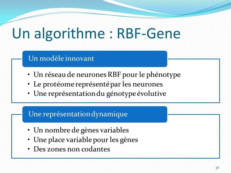 Un algorithme : RBF-Gene Un réseau de neurones RBF pour le phénotype Le protéome représenté par les neurones Une représentation du génotype évolutive