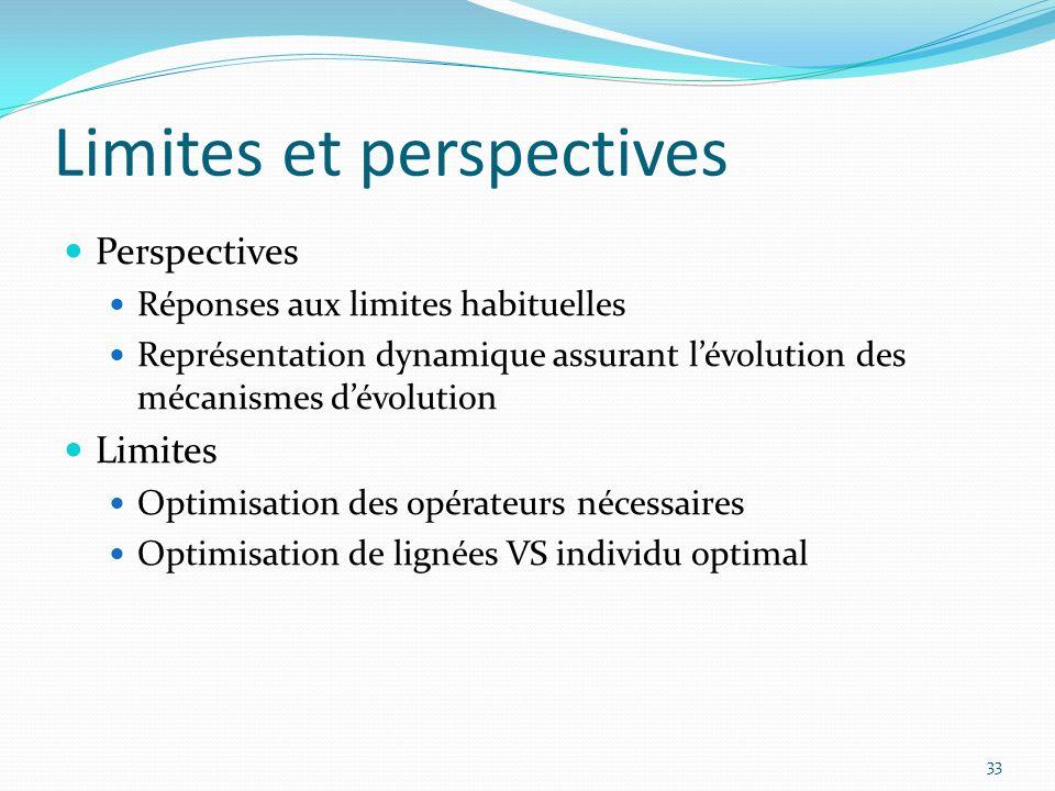 Limites et perspectives 33 Perspectives Réponses aux limites habituelles Représentation dynamique assurant lévolution des mécanismes dévolution Limite