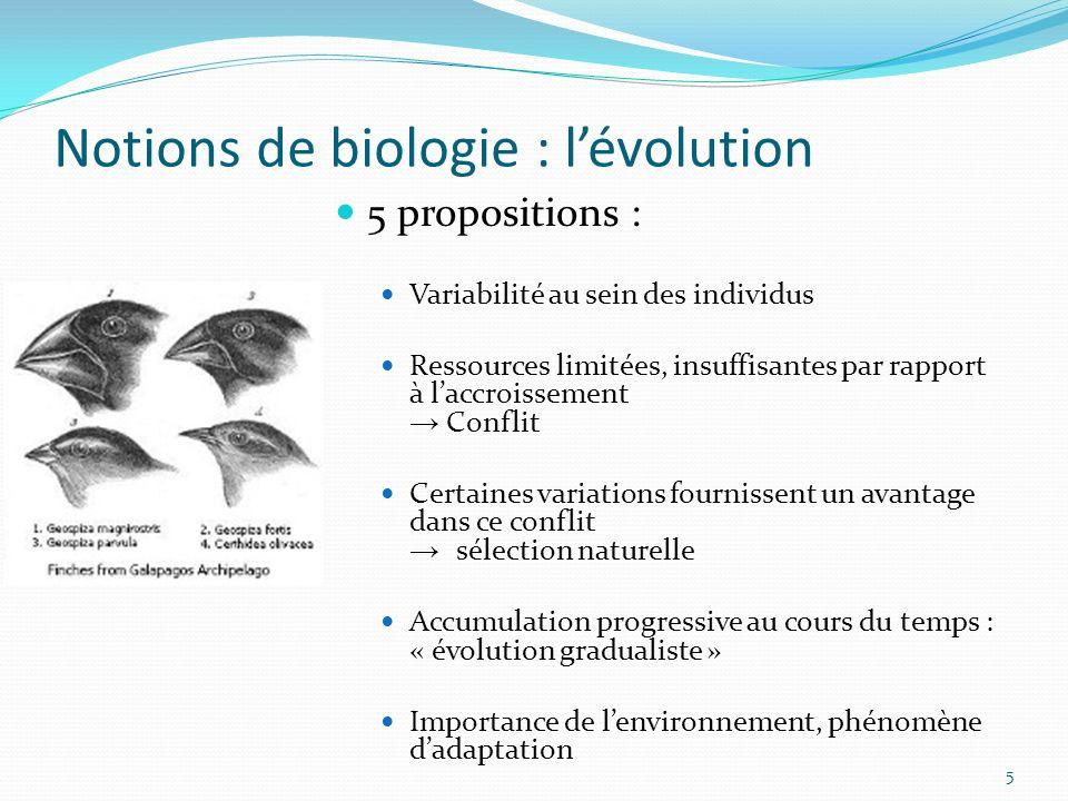Notions de biologie : lévolution 5 5 propositions : Variabilité au sein des individus Ressources limitées, insuffisantes par rapport à laccroissement