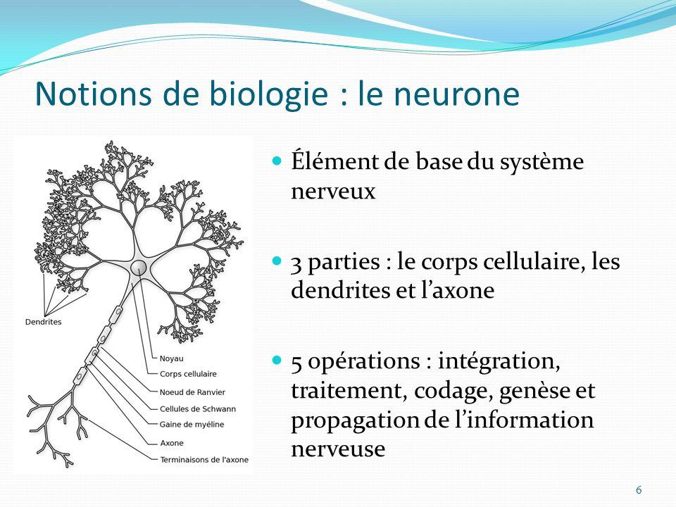 Notions de biologie : le neurone 6 Élément de base du système nerveux 3 parties : le corps cellulaire, les dendrites et laxone 5 opérations : intégrat