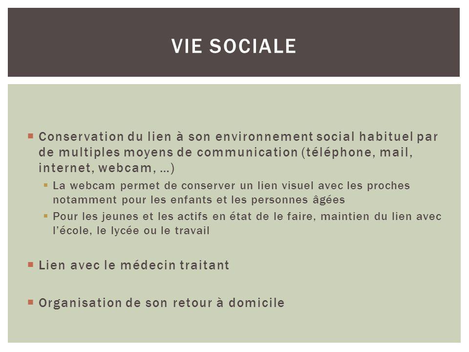 Conservation du lien à son environnement social habituel par de multiples moyens de communication (téléphone, mail, internet, webcam, …) La webcam per