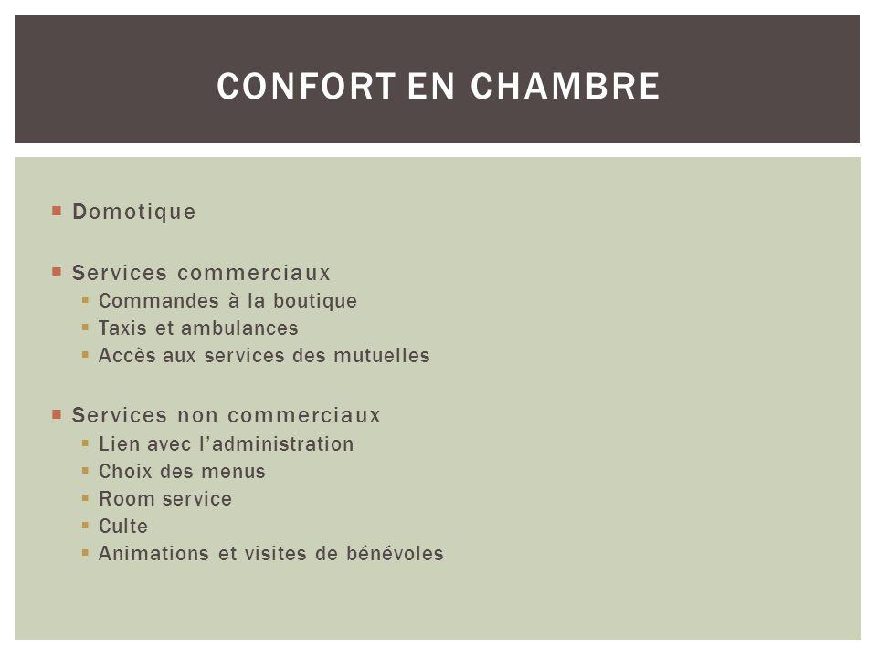 Domotique Services commerciaux Commandes à la boutique Taxis et ambulances Accès aux services des mutuelles Services non commerciaux Lien avec ladmini
