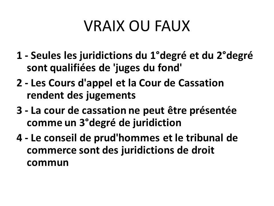 VRAIX OU FAUX 1 - Seules les juridictions du 1°degré et du 2°degré sont qualifiées de 'juges du fond' 2 - Les Cours d'appel et la Cour de Cassation re