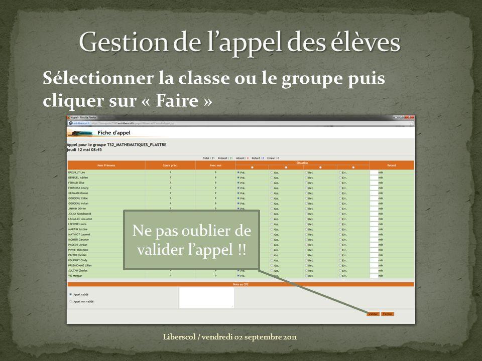 Liberscol / vendredi 02 septembre 2011 Sélectionner la classe ou le groupe puis cliquer sur « Faire » Ne pas oublier de valider lappel !!