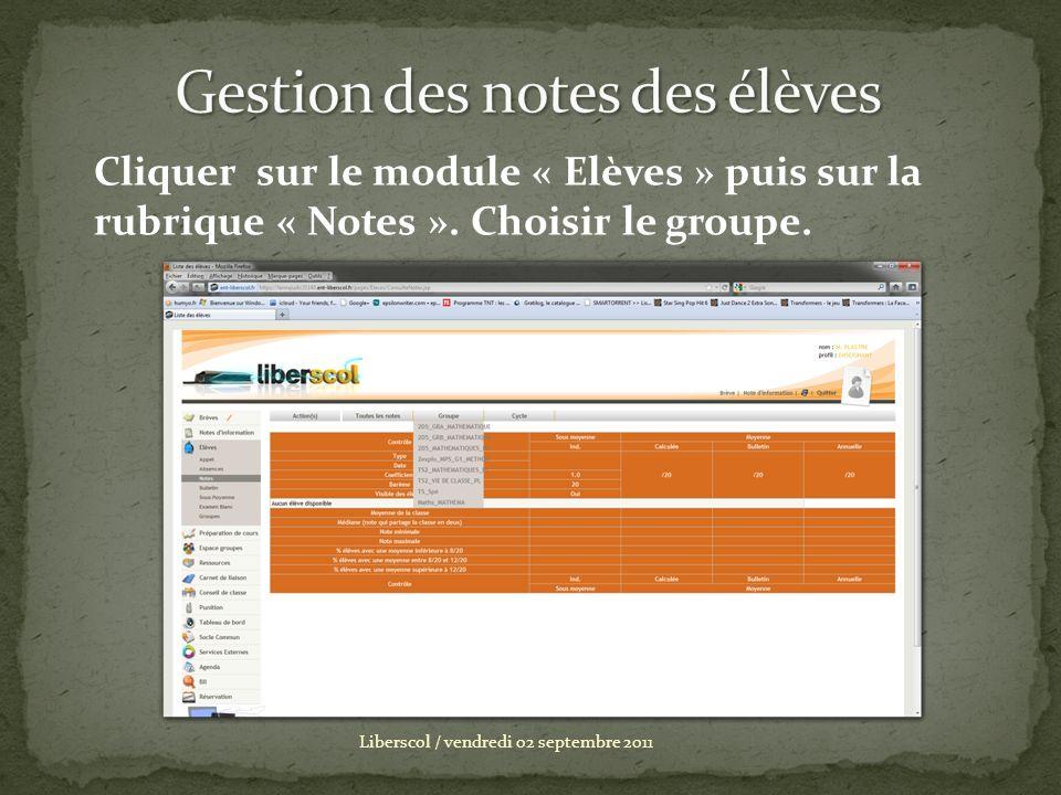 Liberscol / vendredi 02 septembre 2011 Cliquer sur le module « Elèves » puis sur la rubrique « Notes ». Choisir le groupe.
