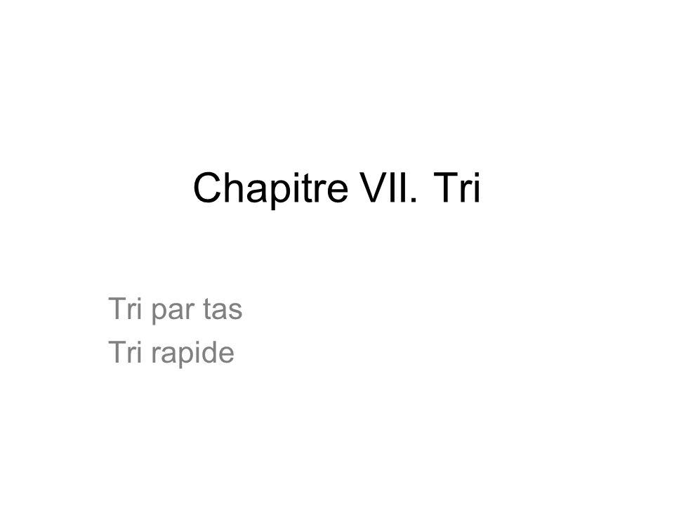 Chapitre VII. Tri Tri par tas Tri rapide