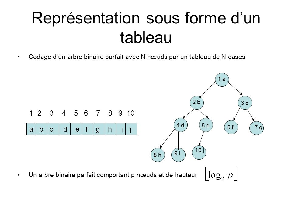 a b c d e f g h i j Représentation sous forme dun tableau Codage dun arbre binaire parfait avec N nœuds par un tableau de N cases Un arbre binaire par
