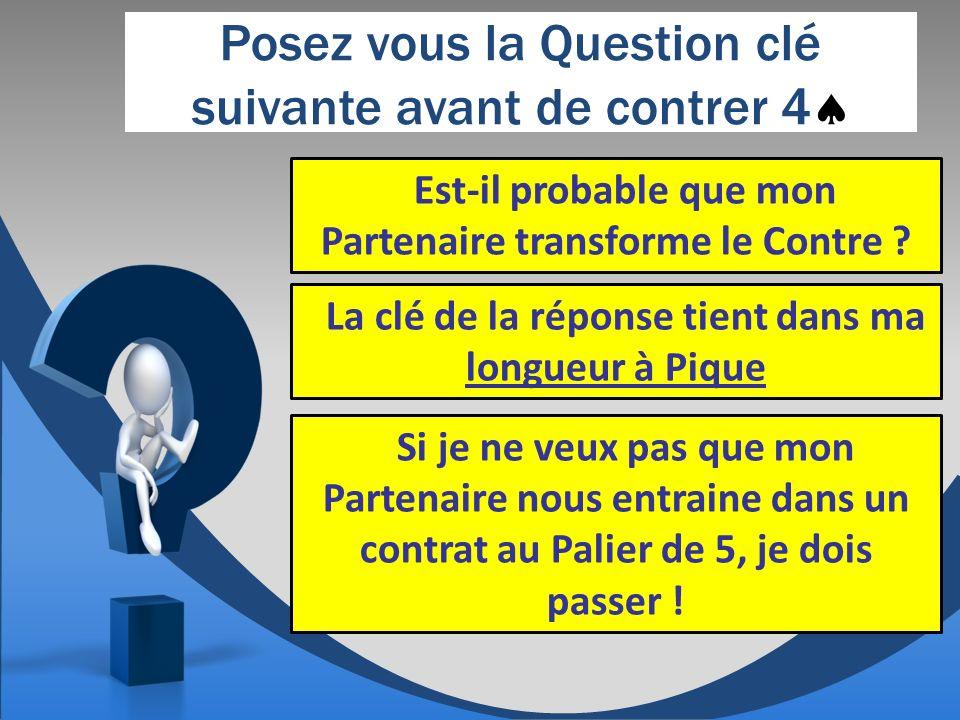 Posez vous la Question clé suivante avant de contrer 4 Est-il probable que mon Partenaire transforme le Contre .