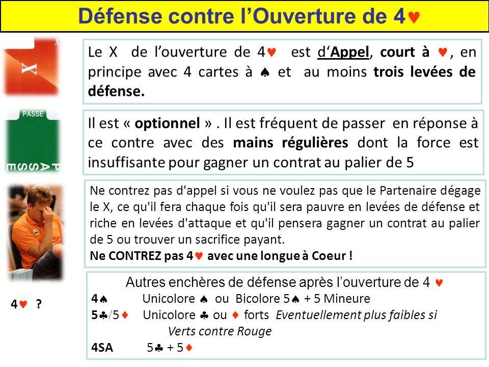 Le X de louverture de 4 est dAppel, court à, en principe avec 4 cartes à et au moins trois levées de défense.