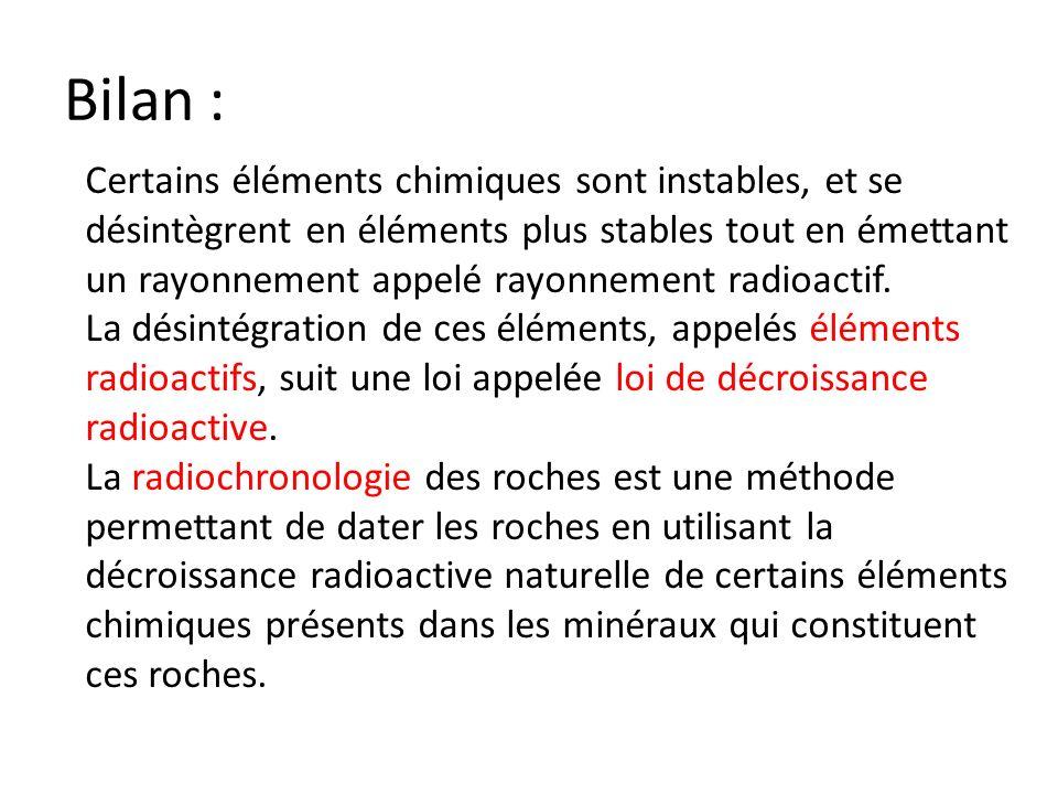 Bilan : Certains éléments chimiques sont instables, et se désintègrent en éléments plus stables tout en émettant un rayonnement appelé rayonnement rad