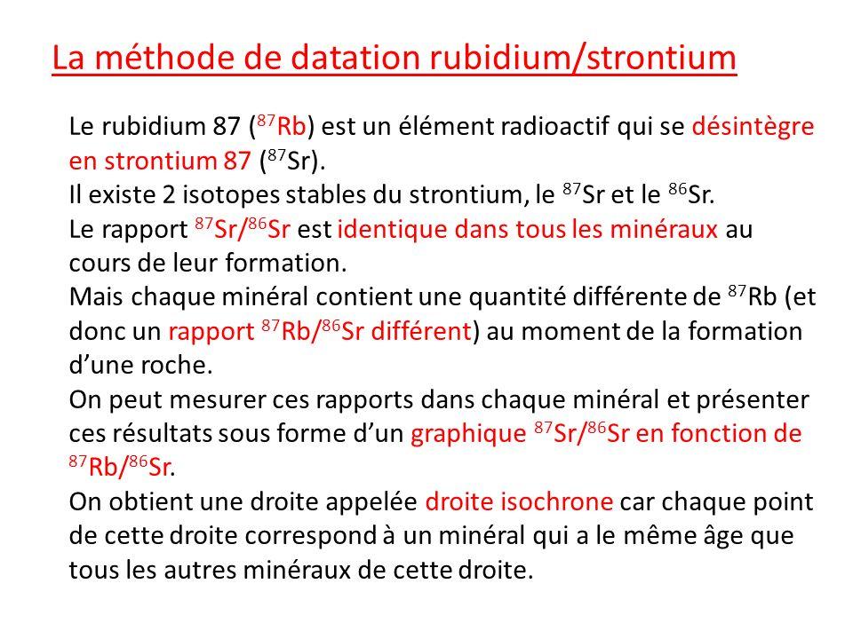 La méthode de datation rubidium/strontium Le rubidium 87 ( 87 Rb) est un élément radioactif qui se désintègre en strontium 87 ( 87 Sr). Il existe 2 is