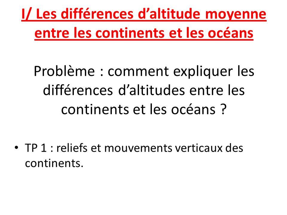 I/ Les différences daltitude moyenne entre les continents et les océans Problème : comment expliquer les différences daltitudes entre les continents e