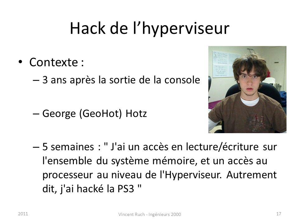 Hack de lhyperviseur Contexte : – 3 ans après la sortie de la console – George (GeoHot) Hotz – 5 semaines :