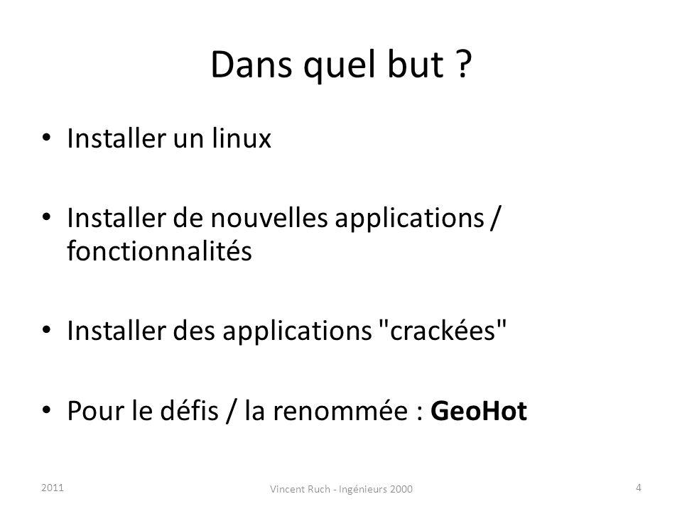 Dans quel but ? Installer un linux Installer de nouvelles applications / fonctionnalités Installer des applications