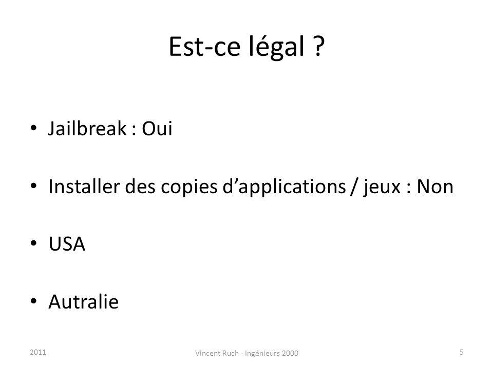 Est-ce légal ? Jailbreak : Oui Installer des copies dapplications / jeux : Non USA Autralie 52011 Vincent Ruch - Ingénieurs 2000