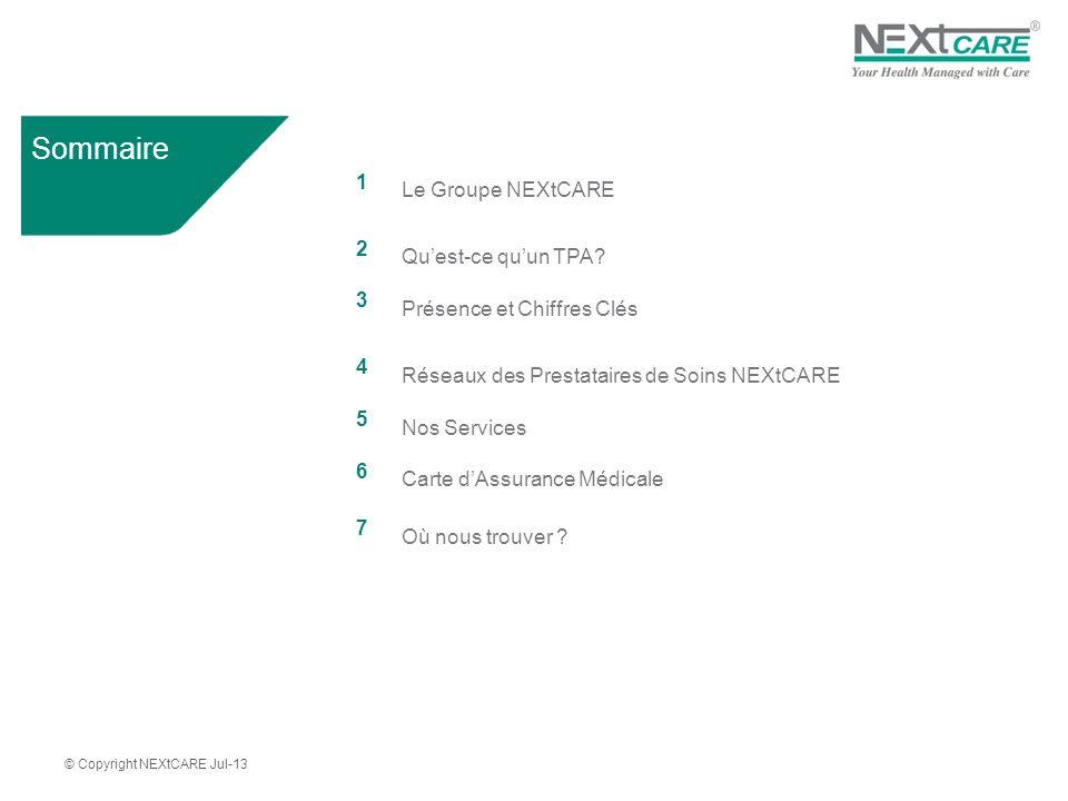 © Copyright NEXtCARE Jul-13 Sommaire 1 Le Groupe NEXtCARE 2 Quest-ce quun TPA.