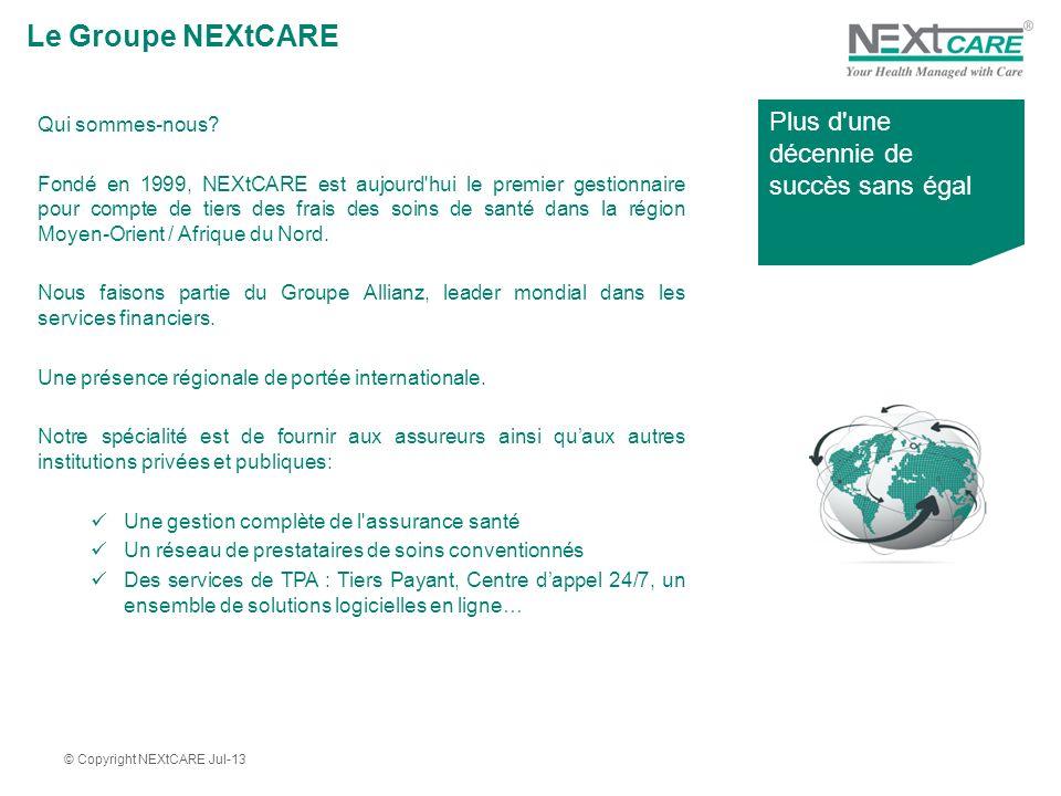 Le Groupe NEXtCARE Qui sommes-nous? Fondé en 1999, NEXtCARE est aujourd'hui le premier gestionnaire pour compte de tiers des frais des soins de santé