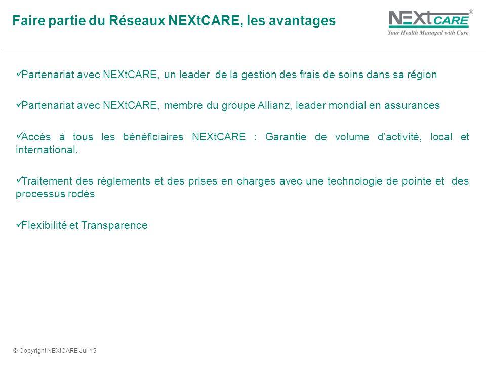 Partenariat avec NEXtCARE, un leader de la gestion des frais de soins dans sa région Partenariat avec NEXtCARE, membre du groupe Allianz, leader mondial en assurances Accès à tous les bénéficiaires NEXtCARE : Garantie de volume d activité, local et international.