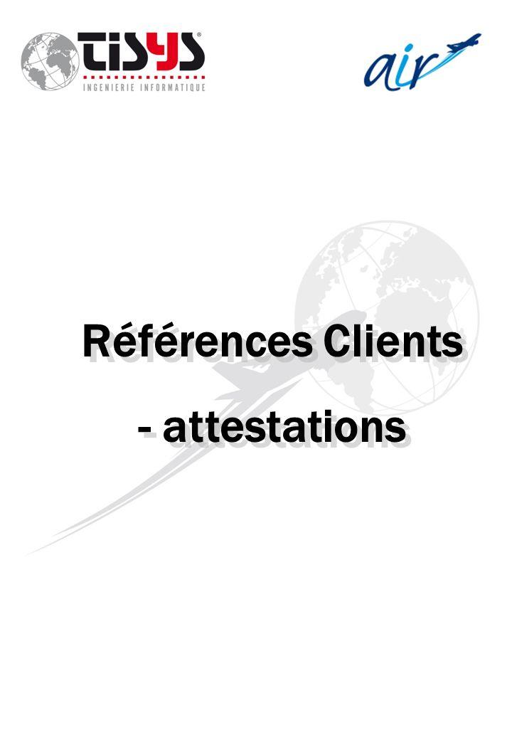 Références Clients - attestations Références Clients - attestations