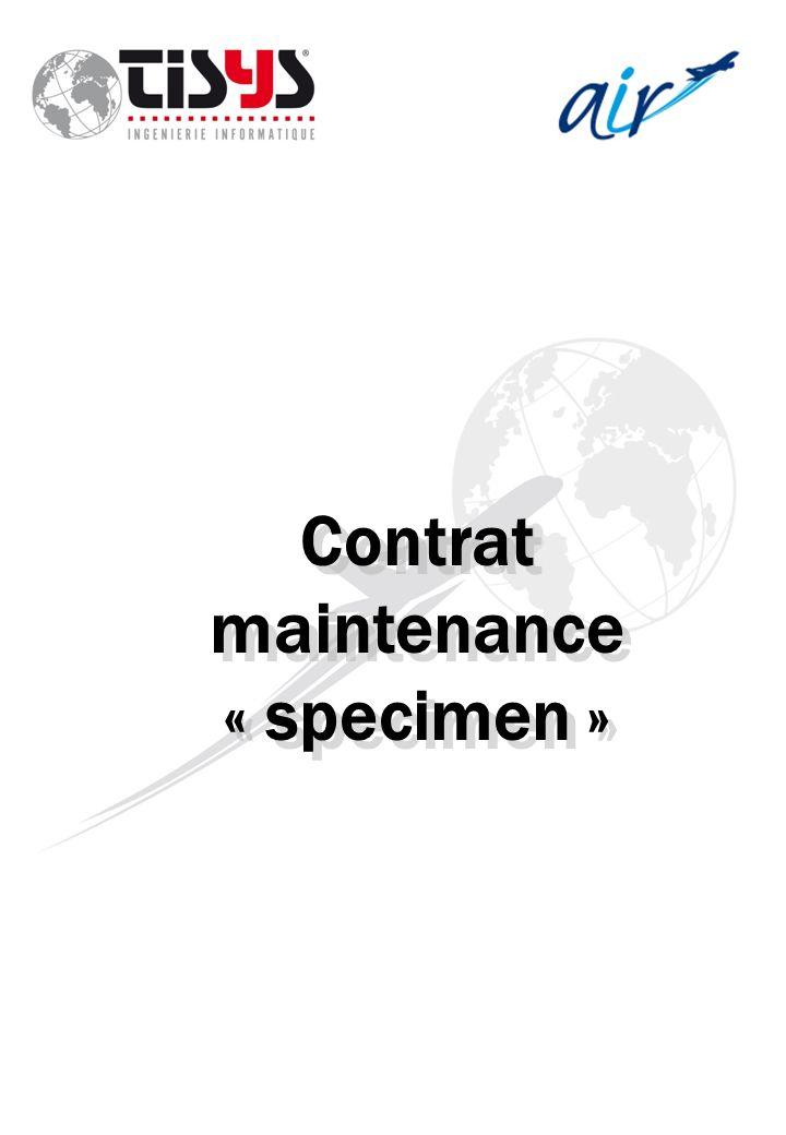Contrat maintenance « specimen »