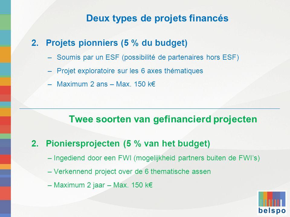Deux types de projets financés 2.Projets pionniers (5 % du budget) –Soumis par un ESF (possibilité de partenaires hors ESF) –Projet exploratoire sur l