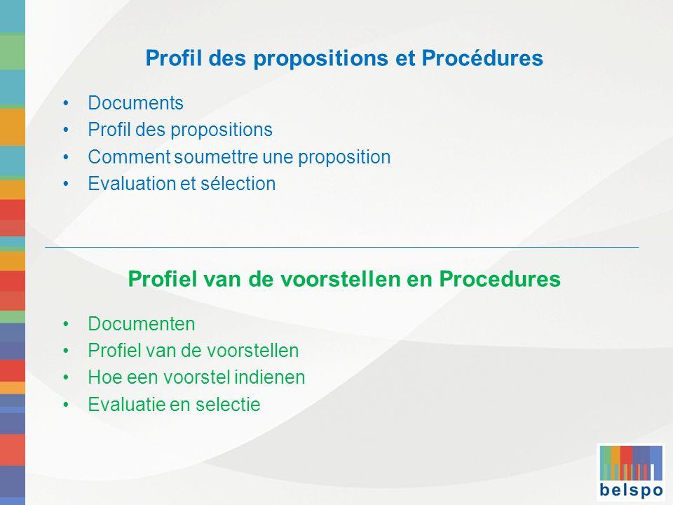 Profil des propositions et Procédures Documents Profil des propositions Comment soumettre une proposition Evaluation et sélection Profiel van de voors