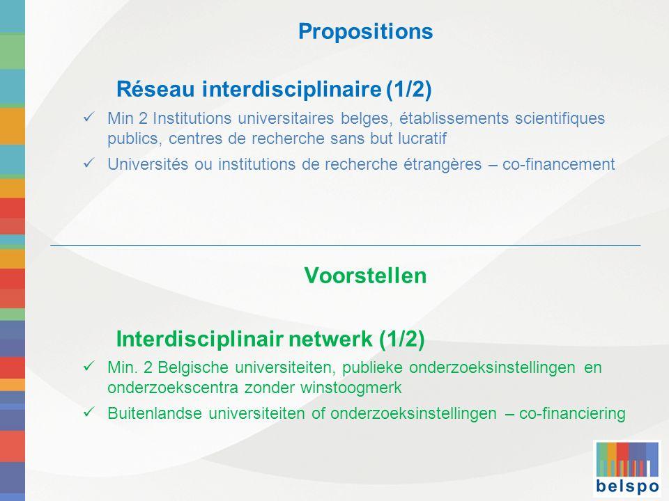 Propositions Réseau interdisciplinaire (1/2) Min 2 Institutions universitaires belges, établissements scientifiques publics, centres de recherche sans but lucratif Universités ou institutions de recherche étrangères – co-financement Voorstellen Interdisciplinair netwerk (1/2) Min.