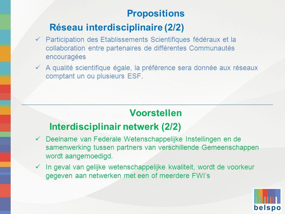 Propositions Réseau interdisciplinaire (2/2) Participation des Etablissements Scientifiques fédéraux et la collaboration entre partenaires de différentes Communautés encouragées A qualité scientifique égale, la préférence sera donnée aux réseaux comptant un ou plusieurs ESF.