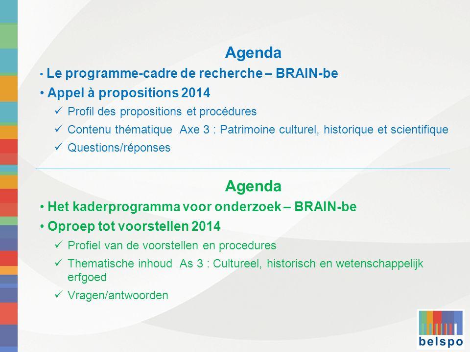 Agenda Le programme-cadre de recherche – BRAIN-be Appel à propositions 2014 Profil des propositions et procédures Contenu thématique Axe 3 : Patrimoin