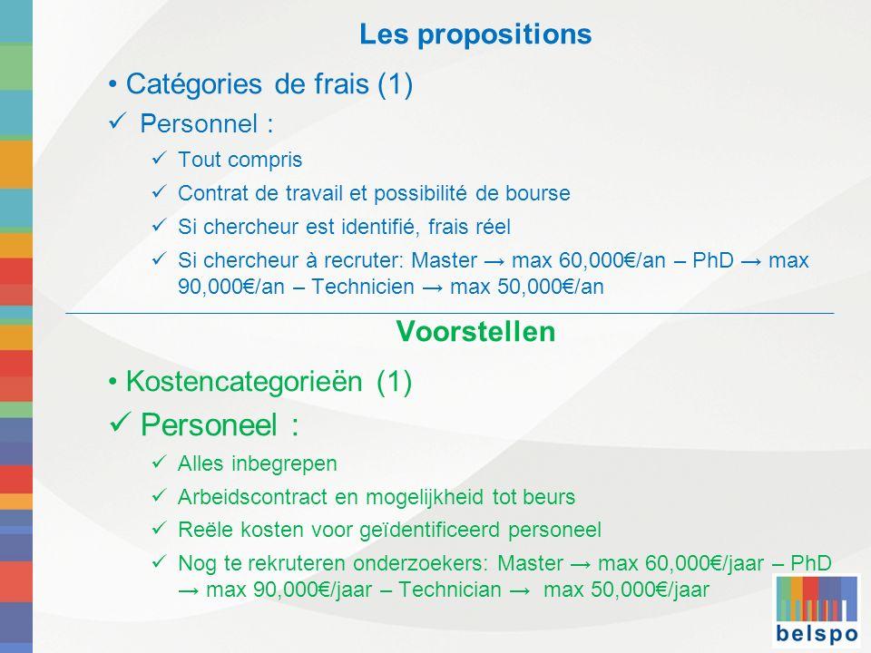 Les propositions Catégories de frais (1) Personnel : Tout compris Contrat de travail et possibilité de bourse Si chercheur est identifié, frais réel S