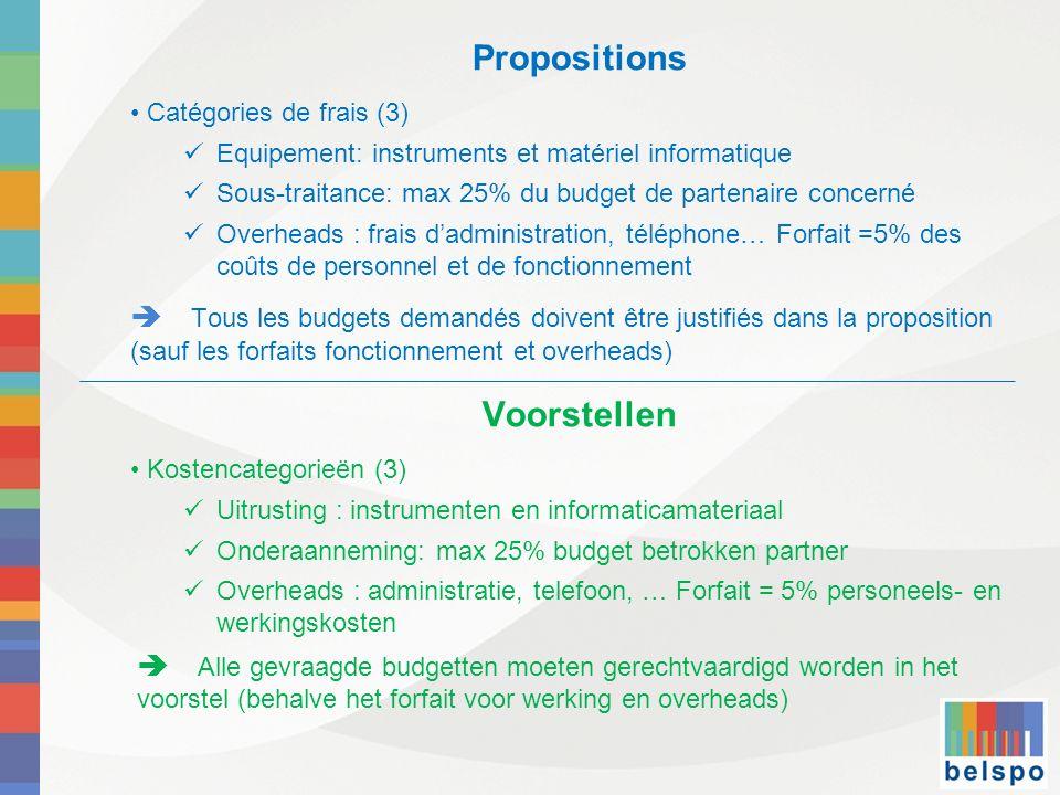 Propositions Catégories de frais (3) Equipement: instruments et matériel informatique Sous-traitance: max 25% du budget de partenaire concerné Overhea