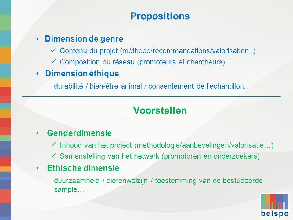Propositions Dimension de genre Contenu du projet (méthode/recommandations/valorisation..) Composition du réseau (promoteurs et chercheurs) Dimension
