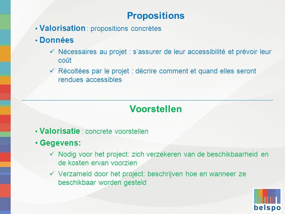Propositions Valorisation : propositions concrètes Données Nécessaires au projet : sassurer de leur accessibilité et prévoir leur coût Récoltées par l