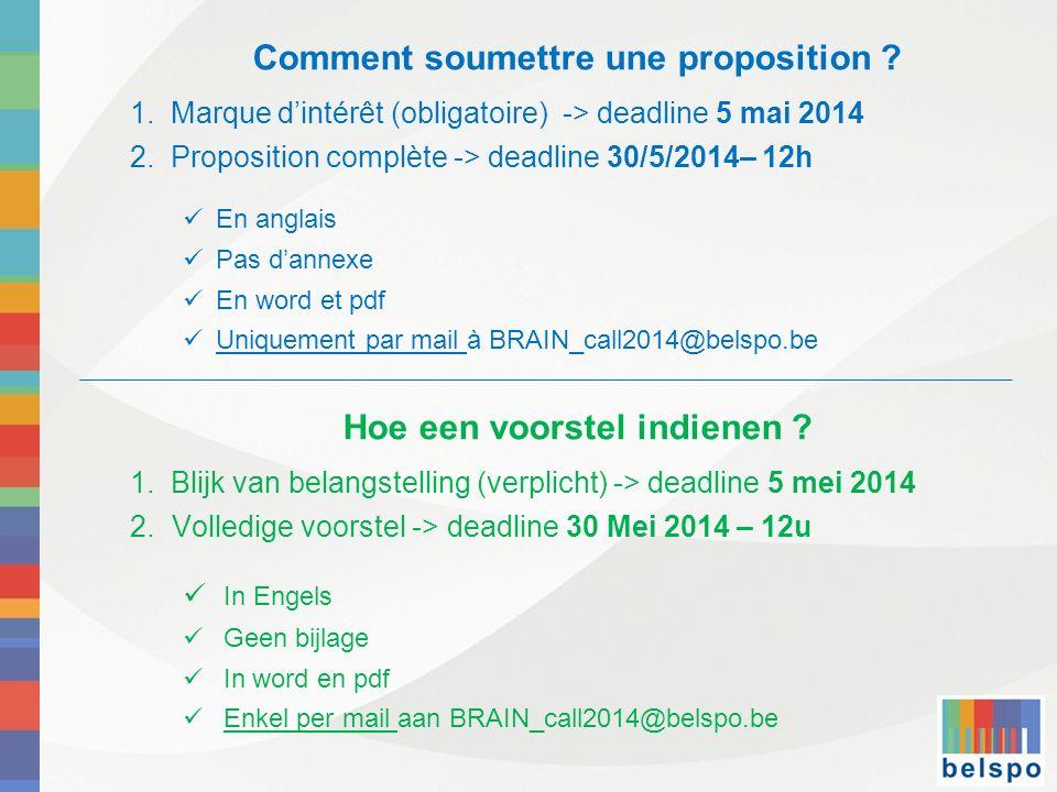 Comment soumettre une proposition ? 1. Marque dintérêt (obligatoire) -> deadline 5 mai 2014 2. Proposition complète -> deadline 30/5/2014– 12h En angl