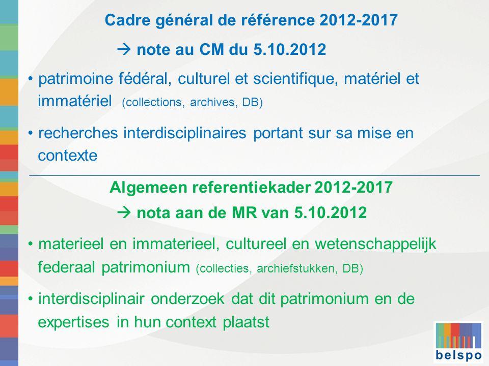 Cadre général de référence 2012-2017 note au CM du 5.10.2012 patrimoine fédéral, culturel et scientifique, matériel et immatériel (collections, archiv