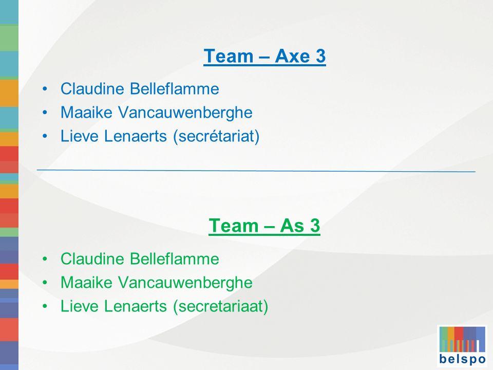 Team – Axe 3 Claudine Belleflamme Maaike Vancauwenberghe Lieve Lenaerts (secrétariat) Team – As 3 Claudine Belleflamme Maaike Vancauwenberghe Lieve Le
